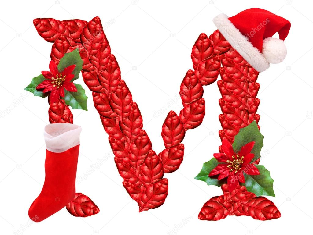 Christmas Letter M With Santa Claus Cap One Part Of Great