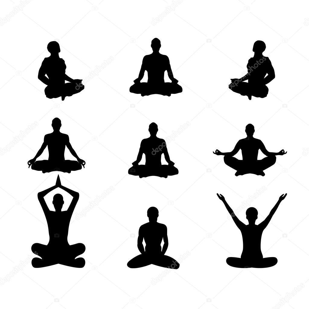 Vector Illustration Basic Meditation Poses