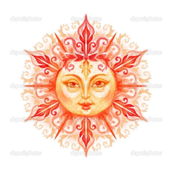 Солнце с лицом. Декоративные солнце с лицом — Стоковое ...