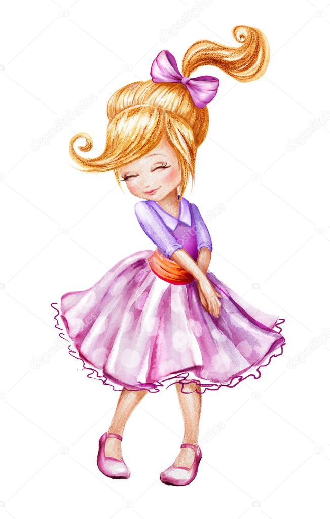 Cute Little Girl Sketch Illustration Stock Photo