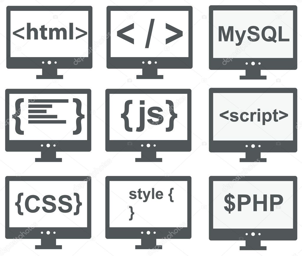 Vector Collection Of Web Development Icons Html Css Tag