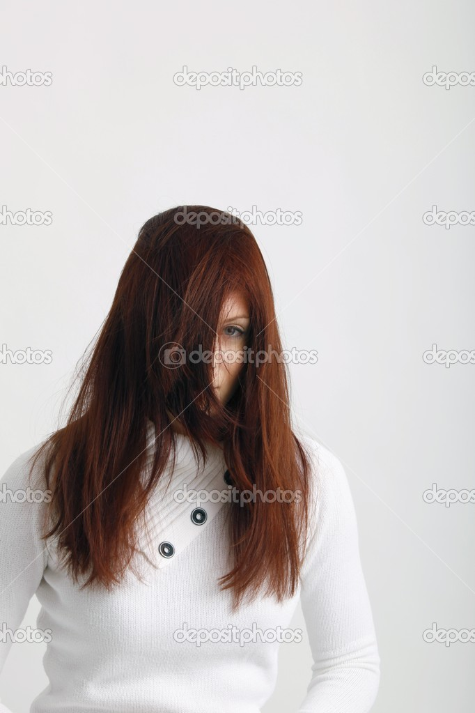 Natural Long Hair Covering Face Of A Woman With Selective