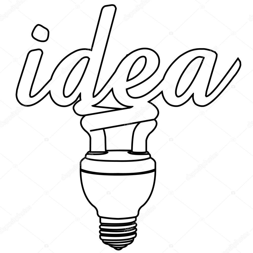 Vetor De Contorno De Ideia De Lampada