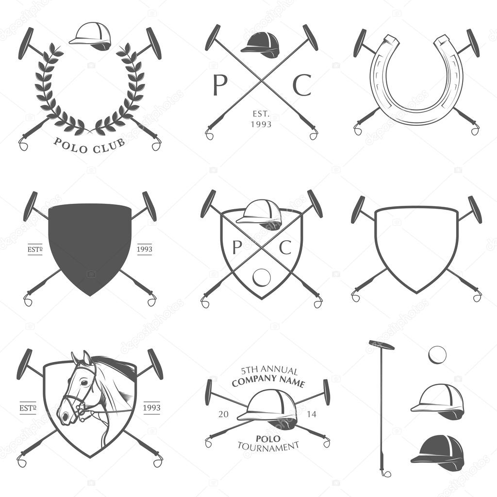 Set Of Horse Polo Labels Badges And Design Elements