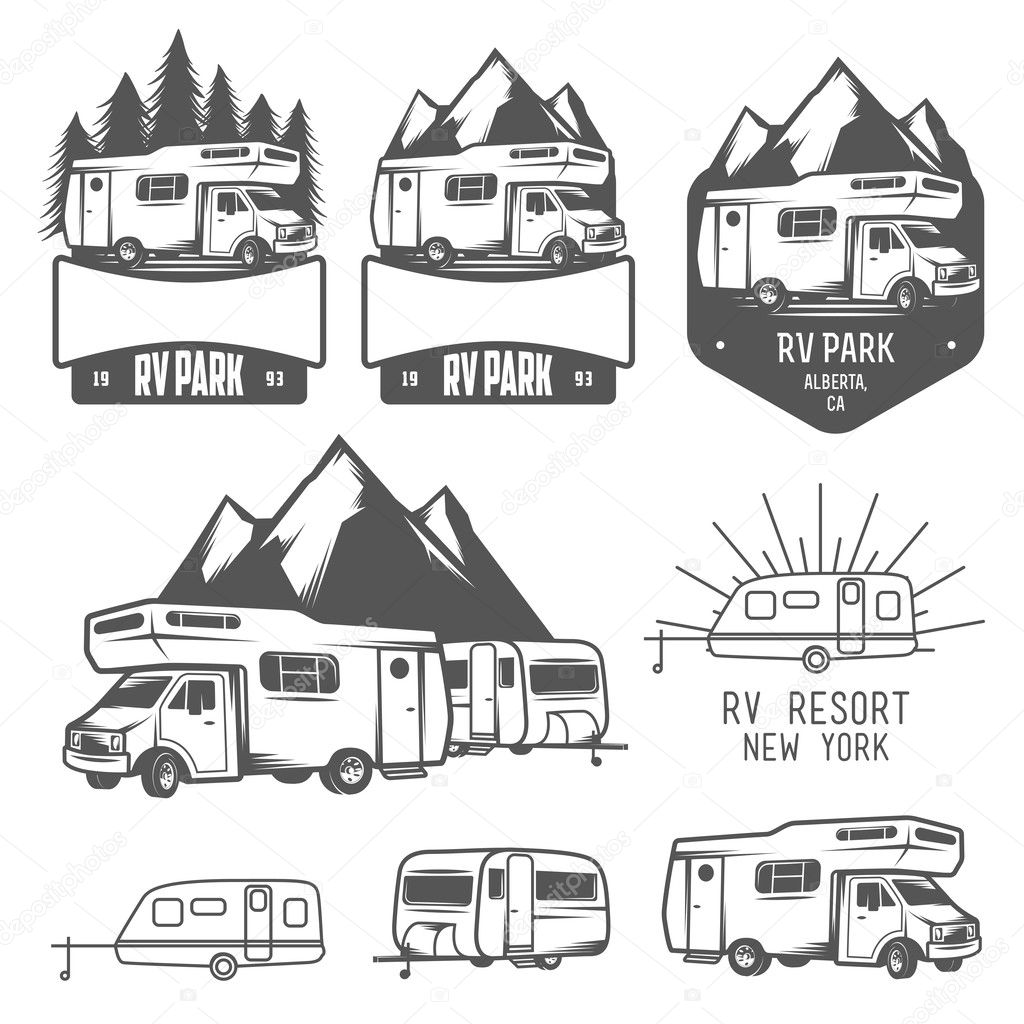 Rv And Caravan Park Badges And Design Elements