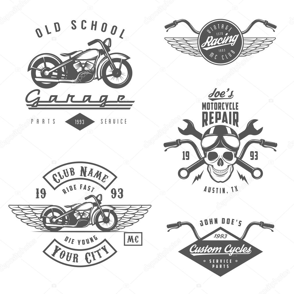 Set Of Retro Motorcycle Labels Badges And Design Elements