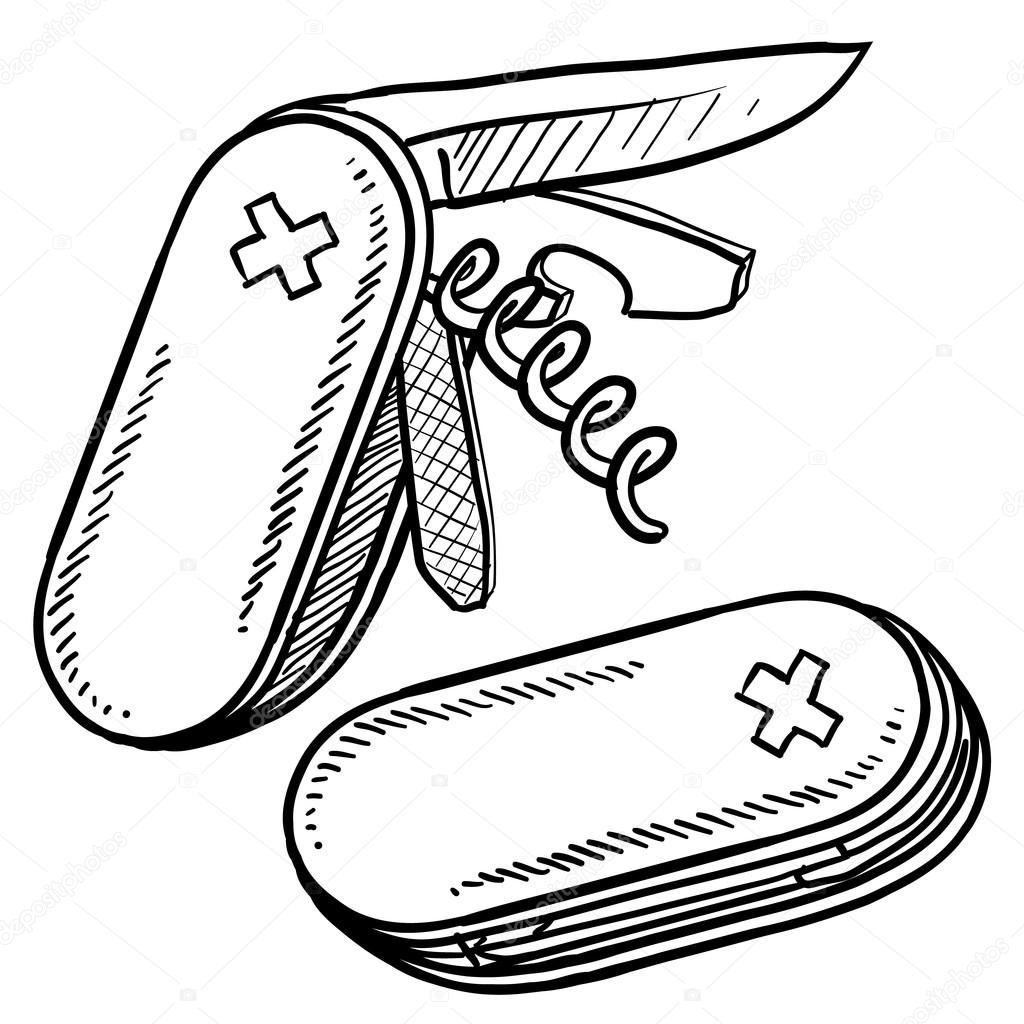 Folding Pocket Knife Sketch