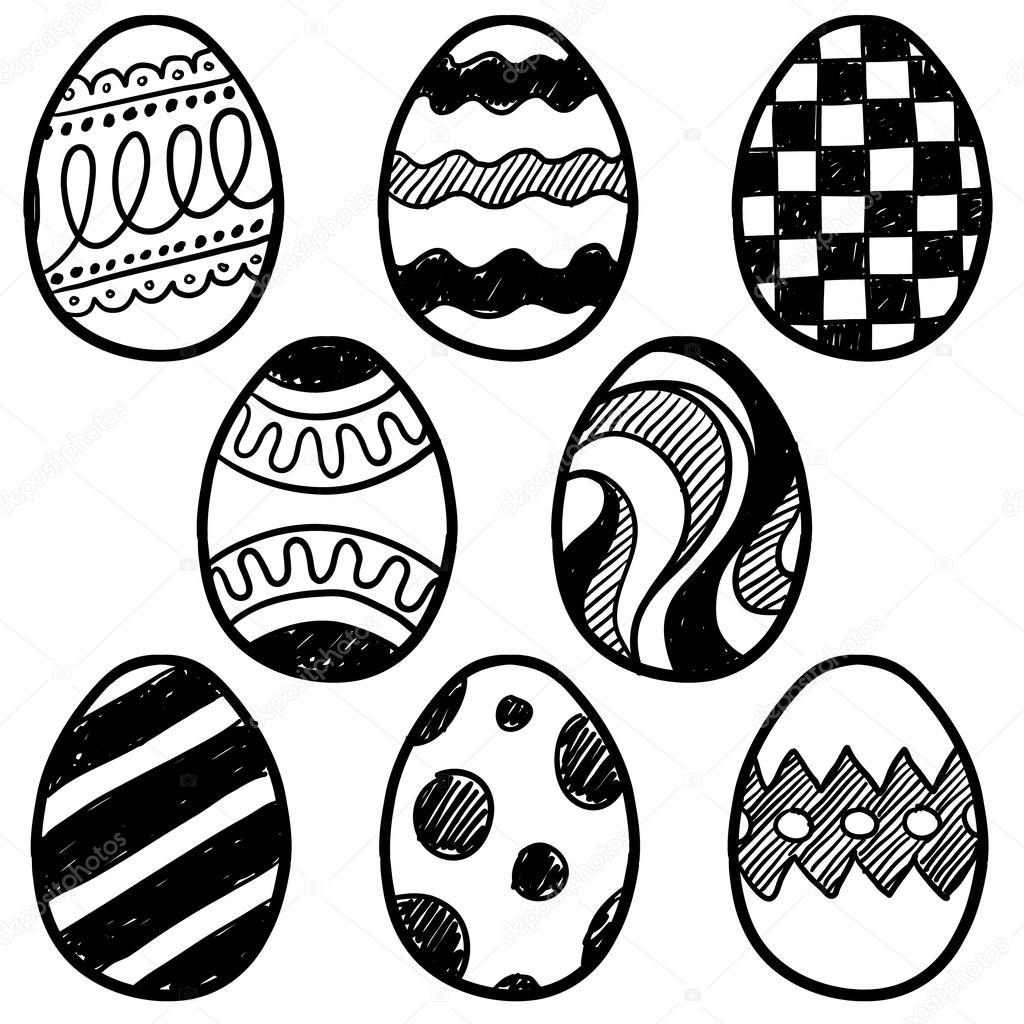 Easter Egg Assortment Vector Sketch