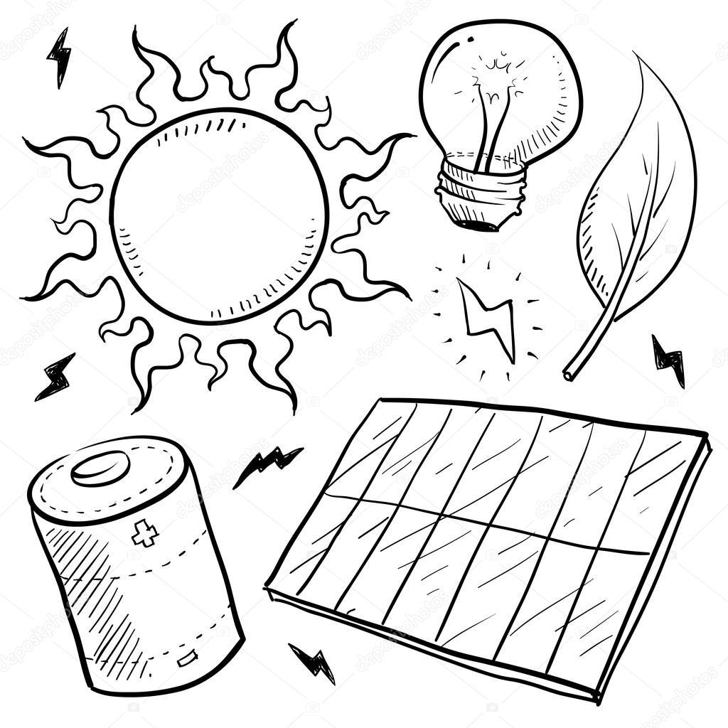 Solar Power Objects Sketch