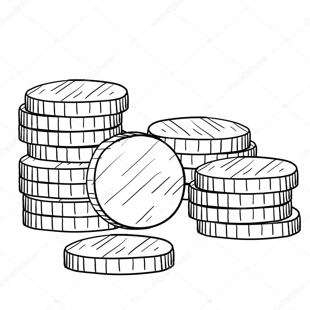 Stack Of Coins Sketch