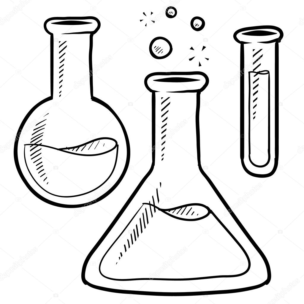 Science Lab Beakers And Test Tubes Sketch