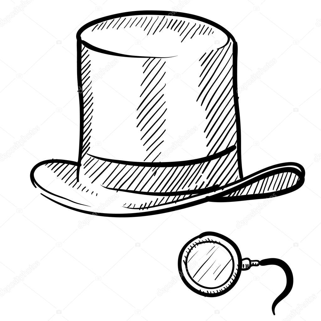 Sombrero De Copa Y Monoculo Bosquejo