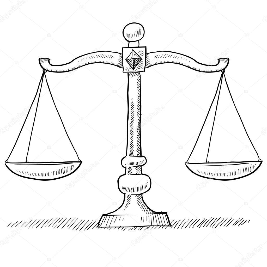 Waage Der Gerechtigkeit Skizze