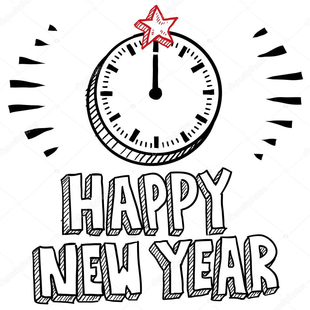 Frohes Neues Jahr Mitternacht Uhr Skizze