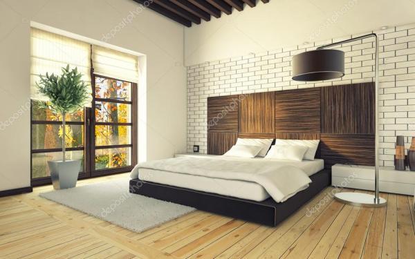 Спальня с кирпичной стены — Стоковое фото © krooogle #17828965