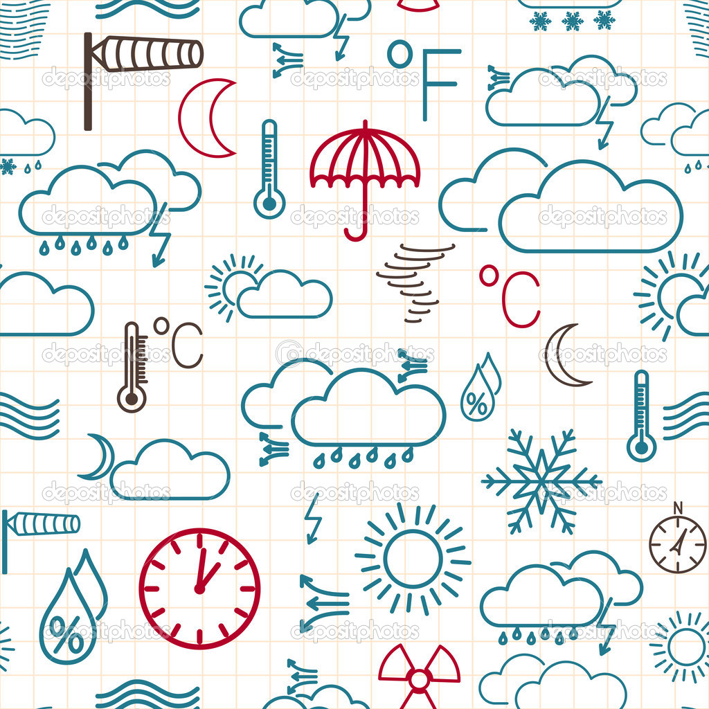 Seamless Pattern Of Weather Symbols