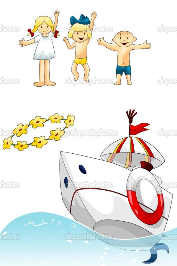 Дети моря лодка цветы клипарт мультфильм стиль векторные ...