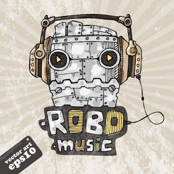 Голова робота в наушниках, робот музыки. Векторные ...
