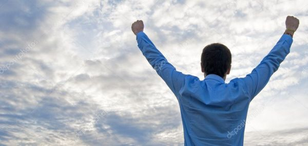 Man stretching his arms up in the air — Stock Photo ...