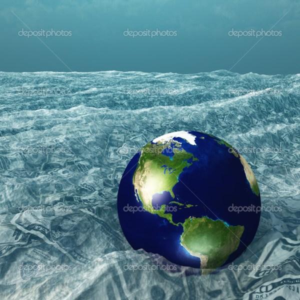 Земля плавает в море нас валюты — Стоковое фото ...