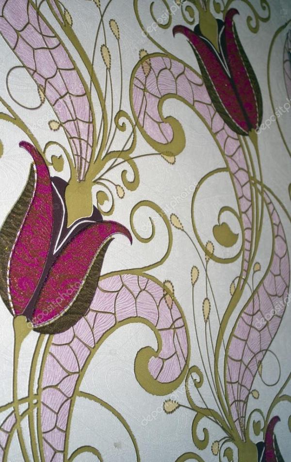 Декоративные обои узор с цветами и листьями в розовый ...