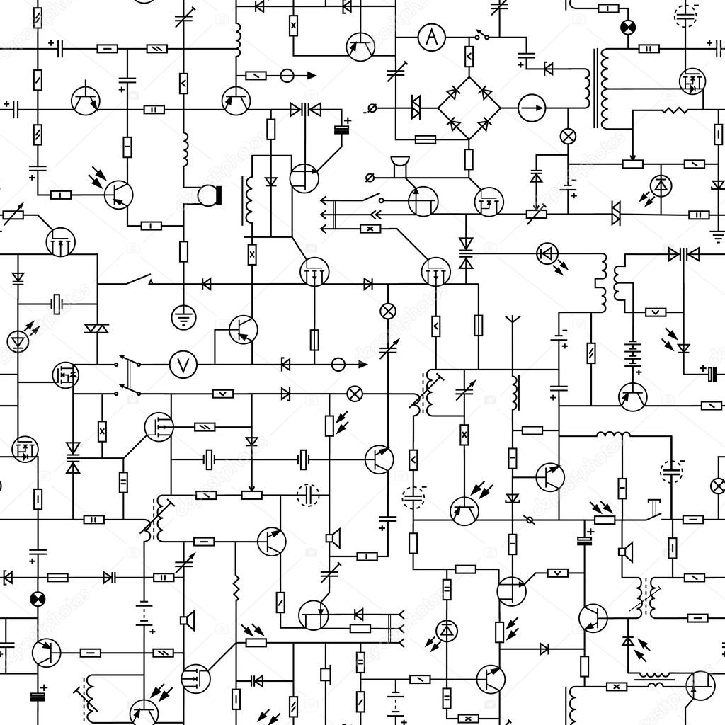 Seamless Background Of Electrical Circuit