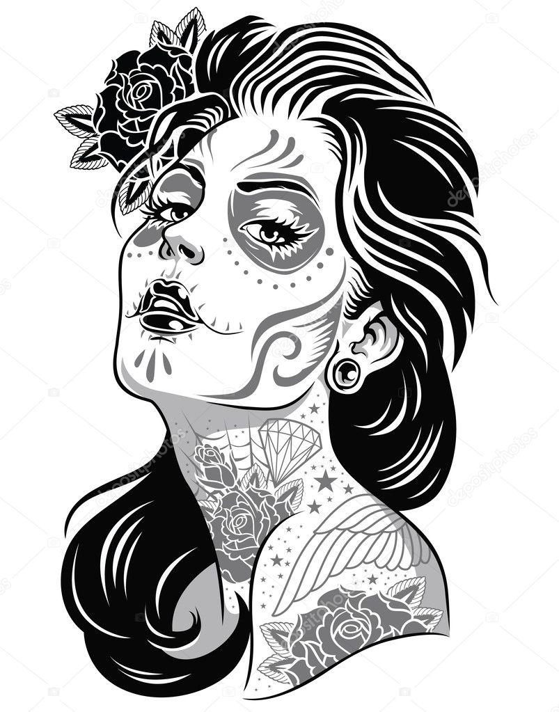Áˆ Drawing Sugar Skull Stock Wallpapers Royalty Free Sugar Skull Drawings Download On Depositphotos