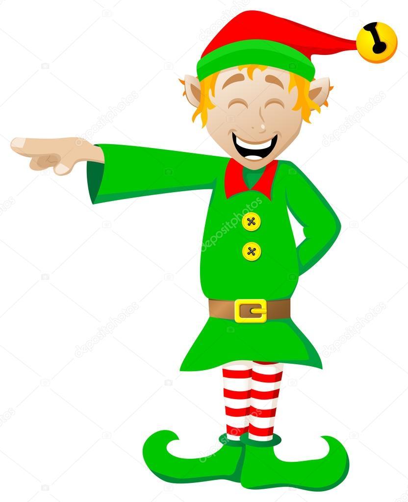 Christmas Elf On White Background Stock Vector