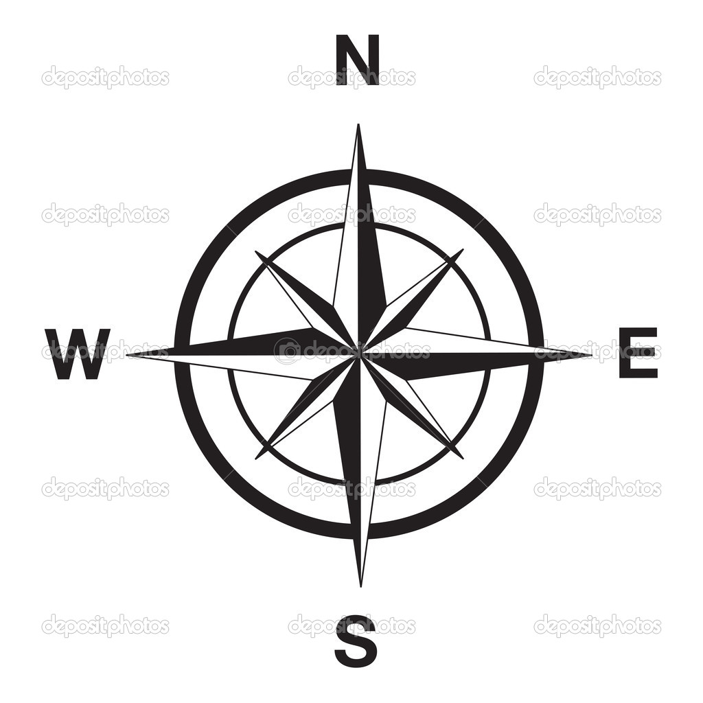 Compass Silhouette In Black