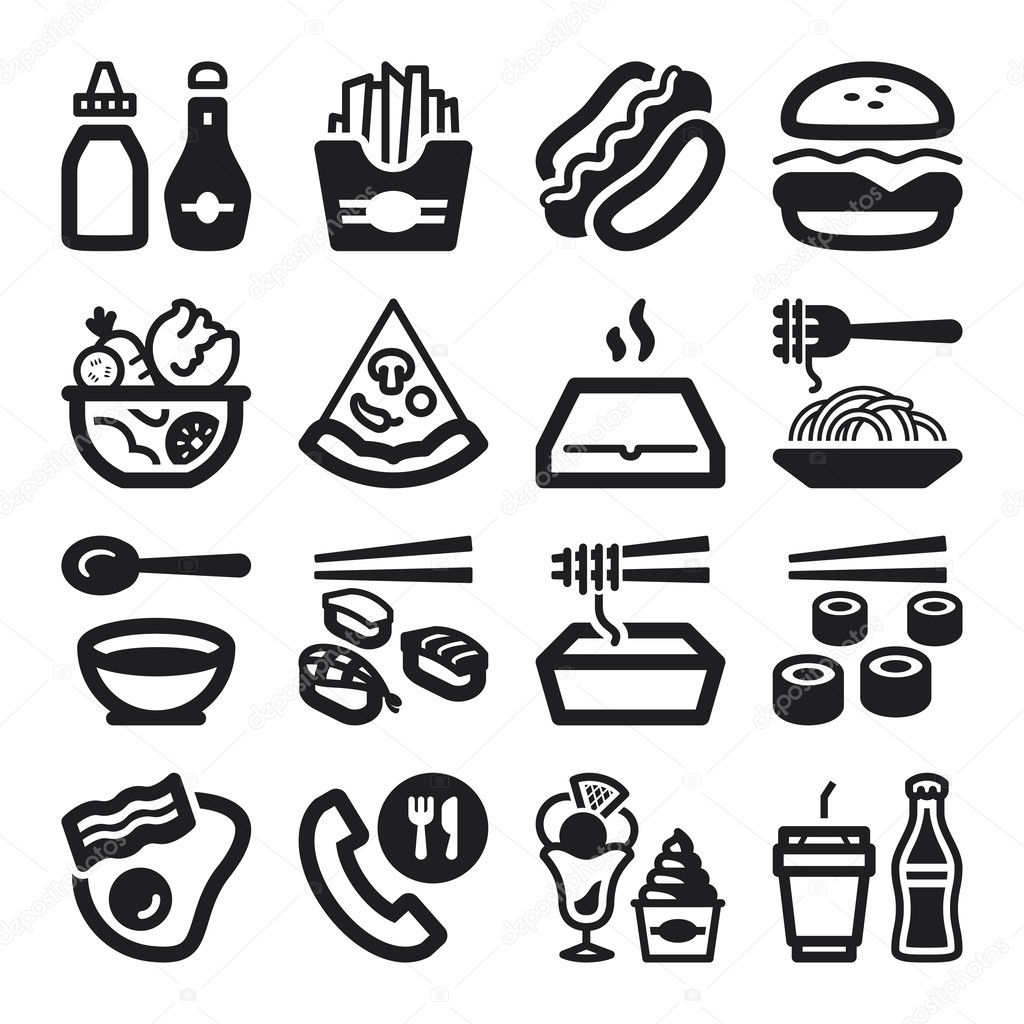 Fast Food And Junk Food Flat Icons Black