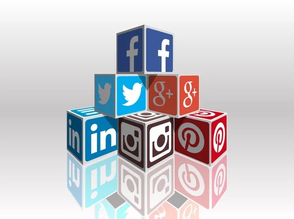 Most popular social media 3d cubes — Vettoriali Stock