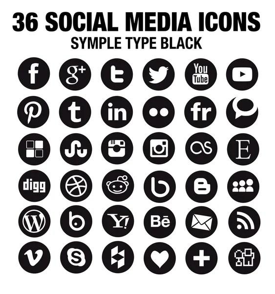 vector black round social media icons