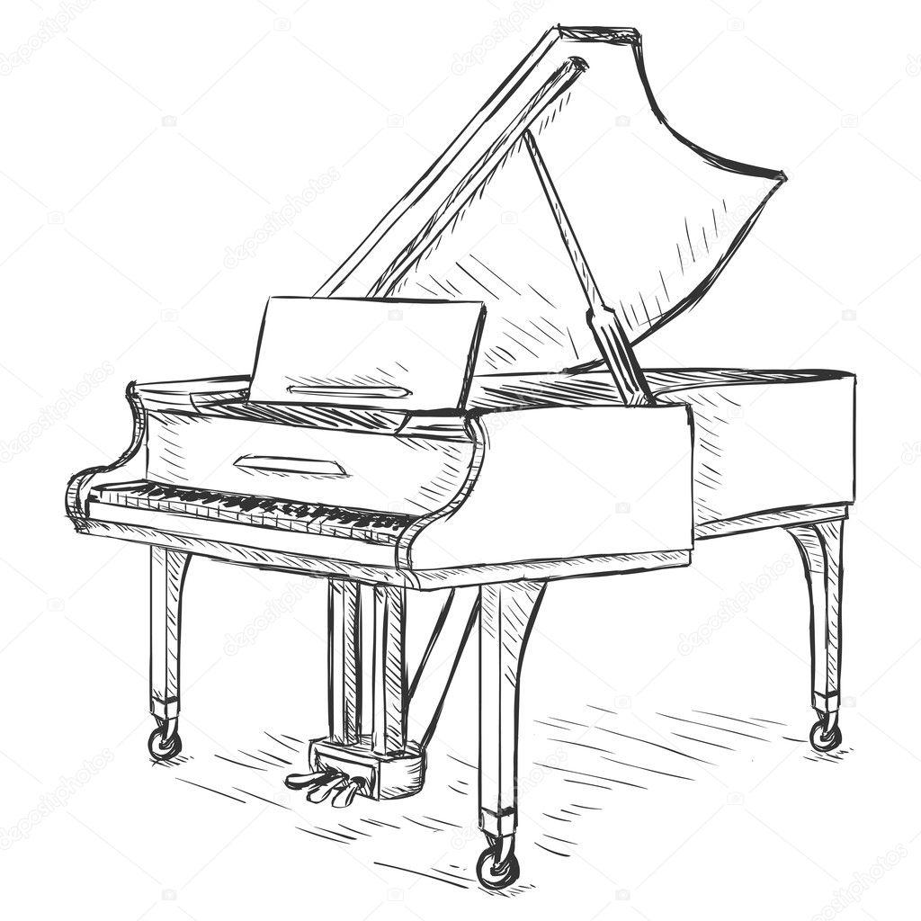 Vector Sketch Grand Piano