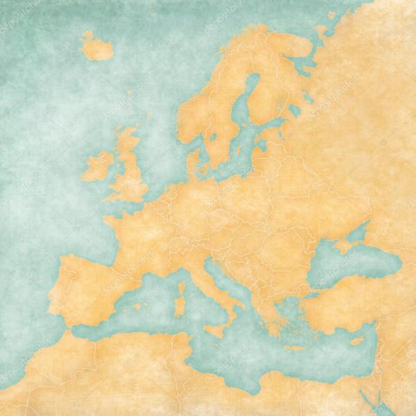 Map of Europe   Blank Map  Vintage Series      Stock Photo      Tindo     Blank map of Europe  The Map is in vintage summer style and sunny mood  The  map has a soft grunge and vintage atmosphere  which acts as watercolor  painting