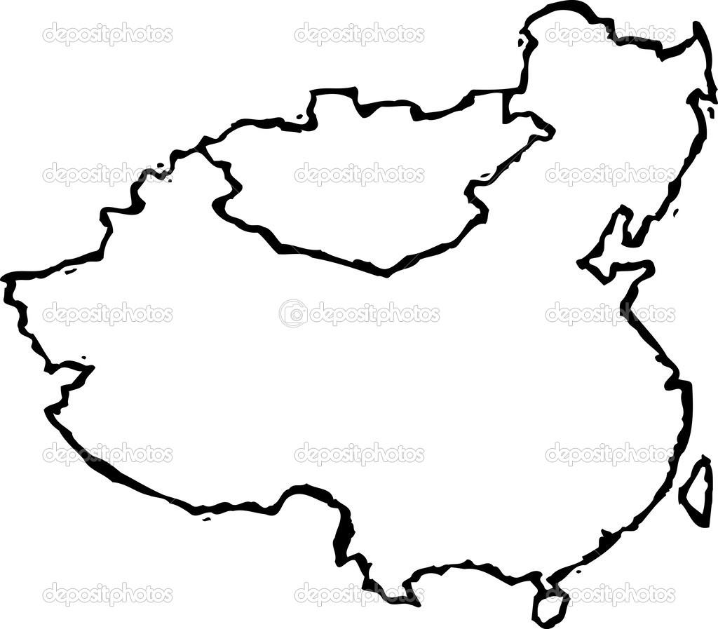 Ilustracao Em Vetor Do Mapa Da China