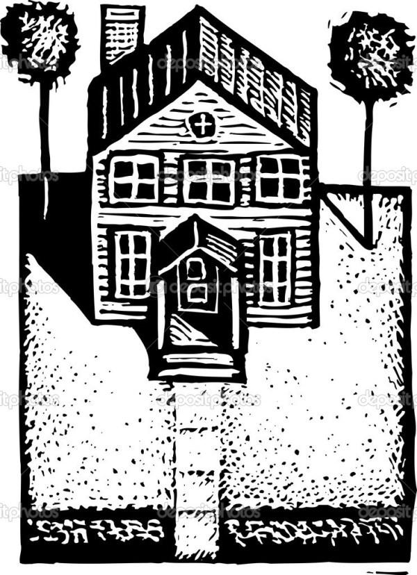 Черно-белые векторные иллюстрации жилого дома — Векторное ...