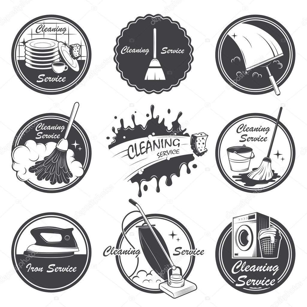 Set Of Cleaning Service Emblems Labels And Designed