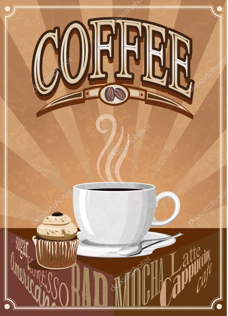 vector vintage coffee poster vector image by c vkatrevich vector stock 41413617