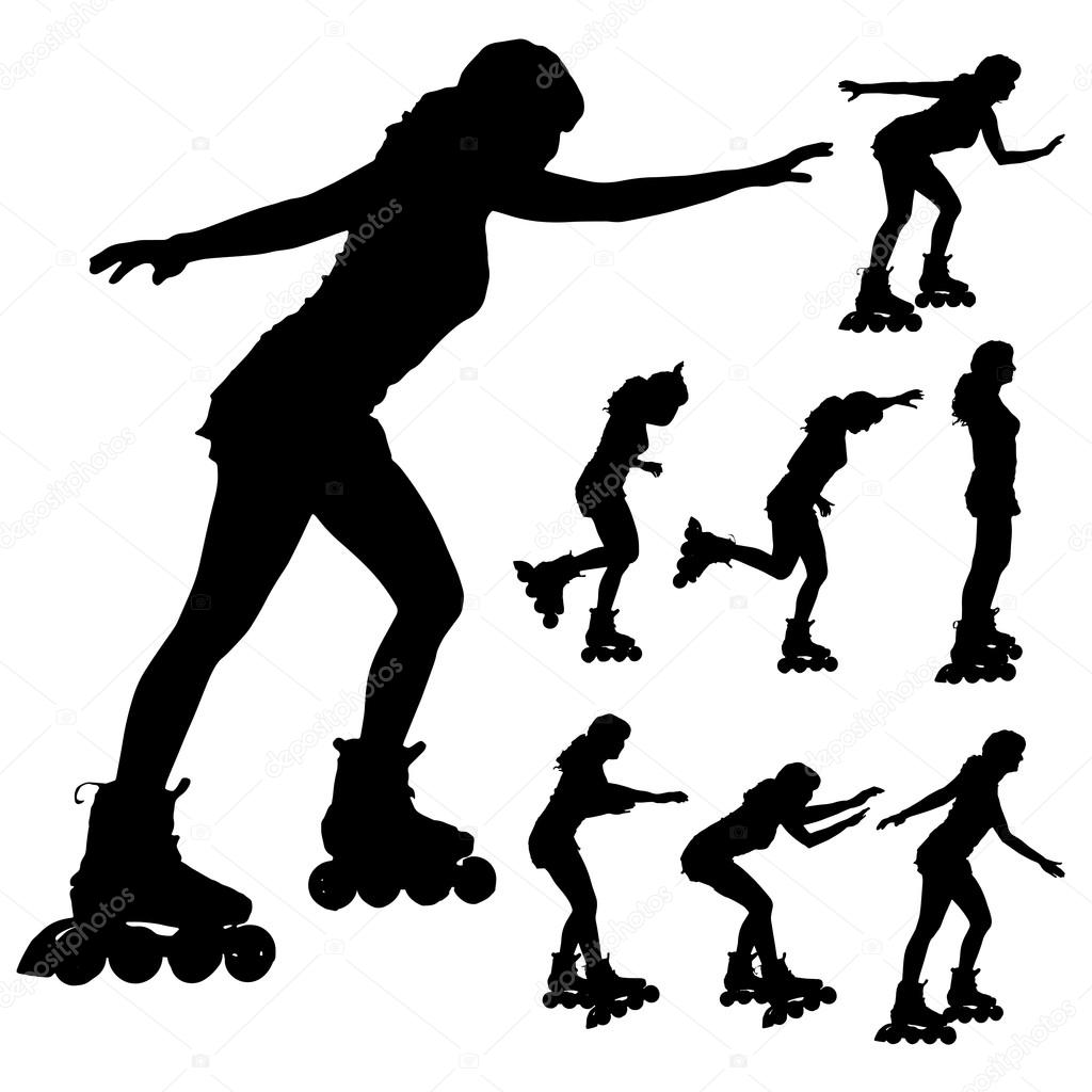 Vector Silhouette Of A Woman On Roller Skates