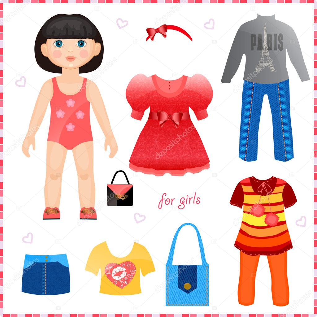 Paper Doll With A Set Of Clothes Cute Fashion Girl