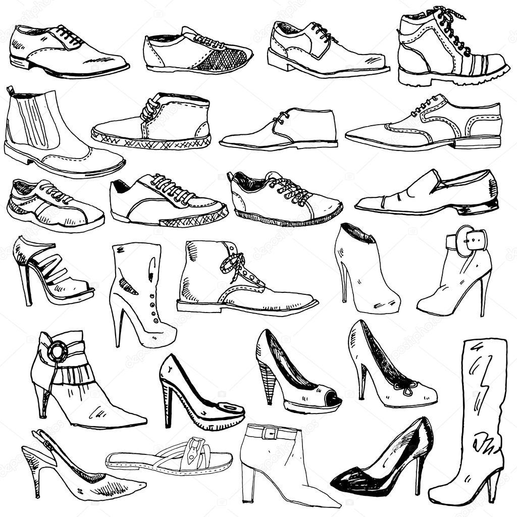 Verschiedene Schuhe Hand Gezeichnet
