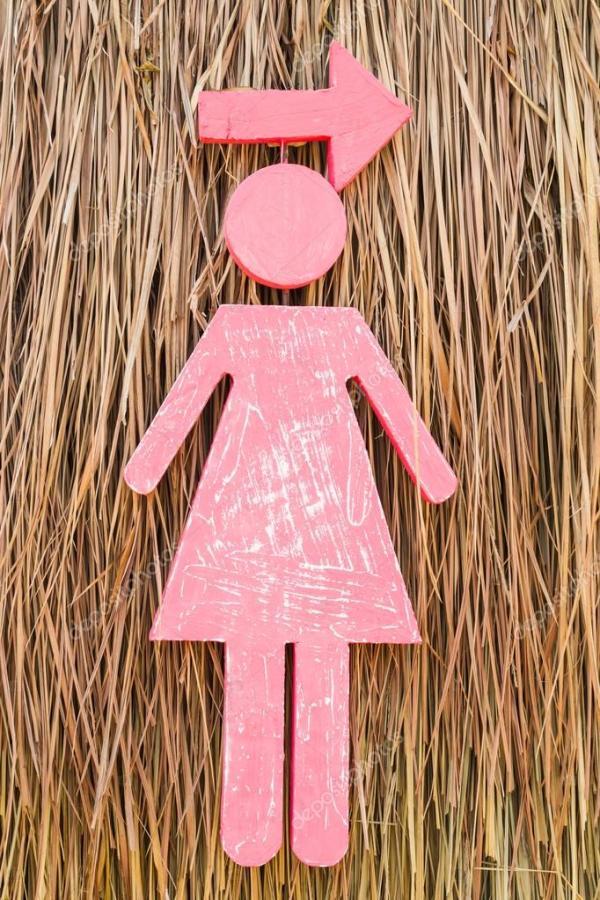Женщина знака из пены на стене травой ветивер — Стоковое ...