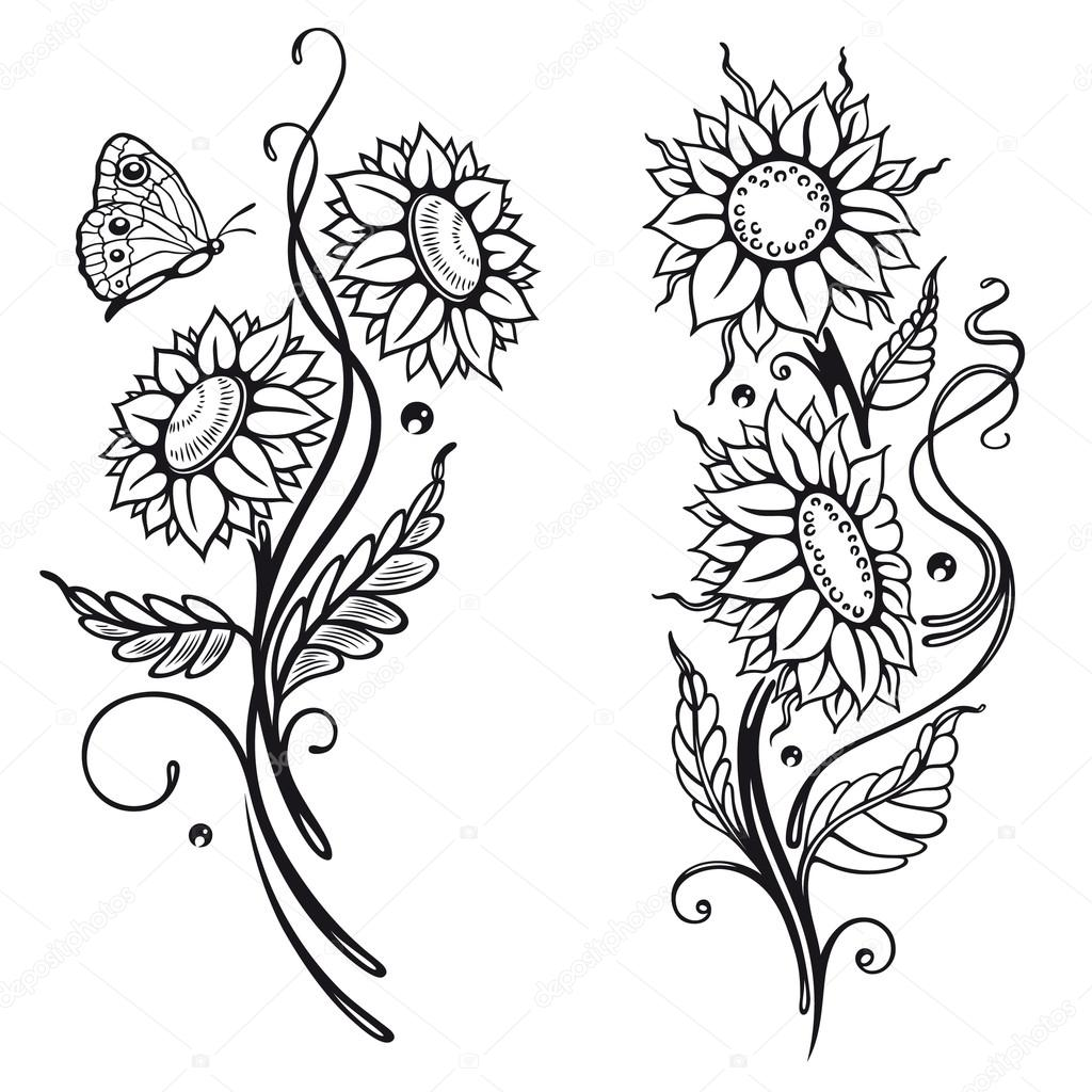 Sunflower Flower Coloring Pages Printable Sketch Coloring Page