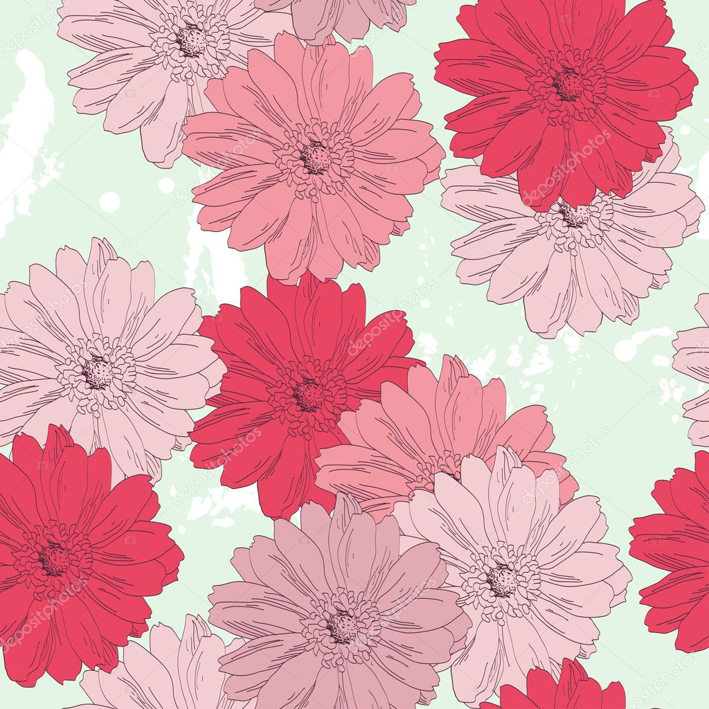 Seamless Floral Pattern Hand Draw Realistic Flower Premium Vector In Adobe Illustrator Ai Ai Format Encapsulated Postscript Eps Eps Format