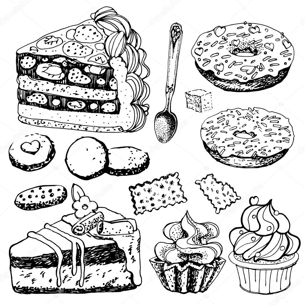 Collection Of Hand Drawn Bakery Goods