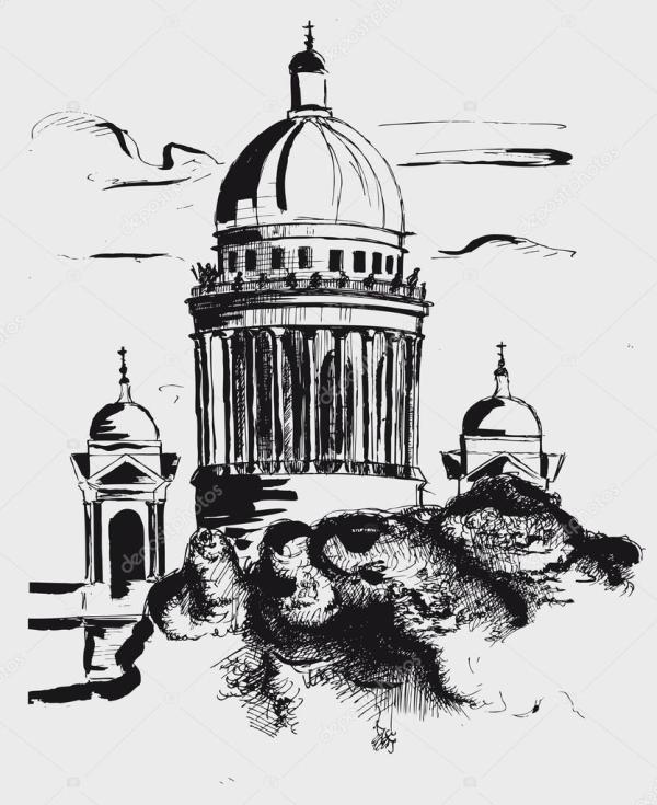 Исаакиевский собор в Санкт Петербурге, Россия — Векторное ...