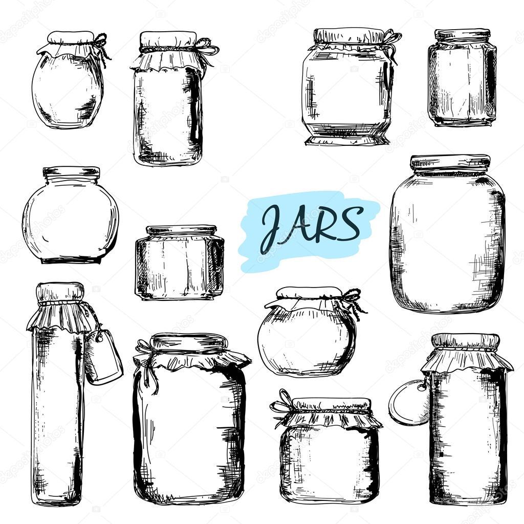 Jars Set Of Illustrations