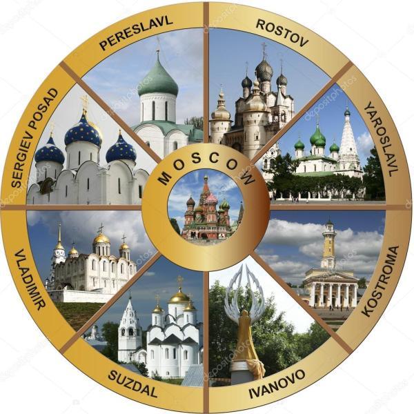 Золотое кольцо России - коллаж en — Стоковое фото © bizam ...