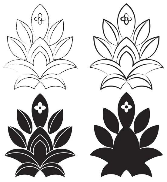 Вектор: лотос. Силуэты цветы лотоса. Набор трех векторных ...