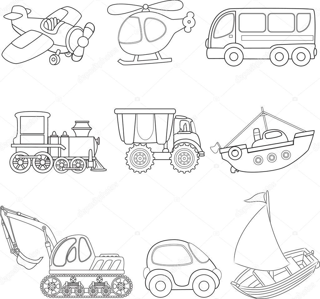 Cartoon Vervoer Kleurboek